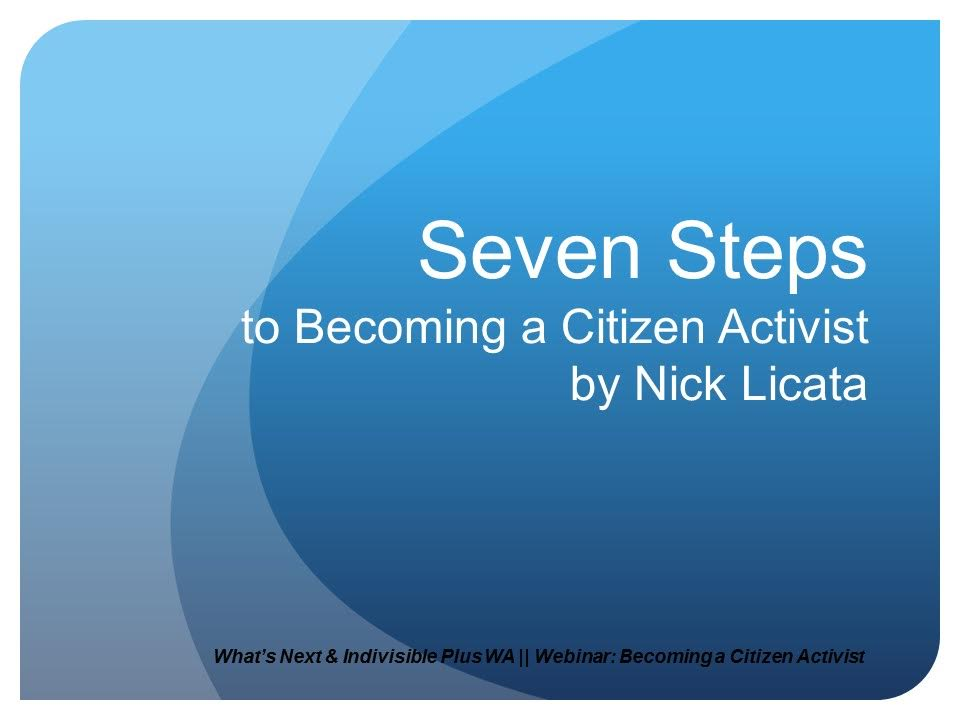 Becoming a Citizen Activist Live Webinar and PowerPoint